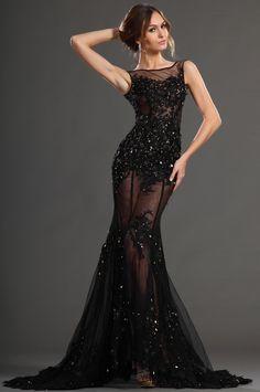 eDressit 2013 S/S Fashion Show Handmade Flowers Sexy Black Evening Dress Prom Gown