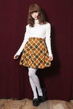 Brown×Black×White エレガントPlaid柄ピンモチーフ付きミニスカート [1125-5sk] | Grimoire Online Shop ─グリモワール オンラインショップ─