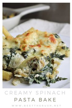This creamy spinach pasta bake is, in my opinion, the definition of comfort food! It's easy to make, with simple ingredients you probably already have in your home. Also, it's creamy and covered with molten golden cheese! But, you may ask, is this glorified mac and cheese? Probably… Am I still calling it fancy? Well, sure! Whatever you call it, I hope you try this recipe and enjoy some comforting pasta! Click the link to find this delicious recipe! #pastabake #vegetariandinner #comfortfood Vegetarian Pasta Recipes, Vegetarian Cheese, Side Dish Recipes, Side Dishes, Spinach Pasta Bake, Creamy Spinach, Comfortfood, Mac And Cheese, Beets