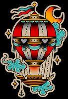 Hot air balloon tattoo design by XHAHNX