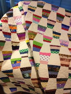 A Scrap Happy 47 X 61 Tumbler Pattern Quilt by WrappingYouInWarmth, $143.00