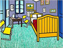 Roy Lichtenstein - Bedroom at Aries compare to van Gogh