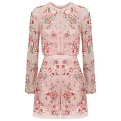 Needle & Thread Meadow Embellished Playsuit ($395) ❤ liked on Polyvore featuring jumpsuits, rompers, floral print romper, floral camisole, camisole slip, sequin cami and flower print romper