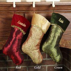 Glitter Swirl Personalized Christmas Stockings; 17 dollars