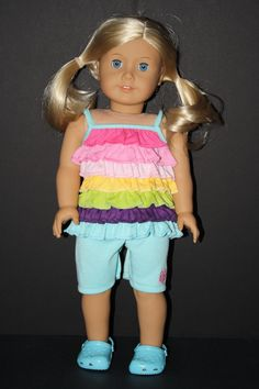 Multi Colored Summer Ruffled Shirt and Shorts--looks like another doll outfit
