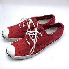 7ab56b4a9f65 The JACK PURCELL CONVERSE Vintage Sneakers Red Size 12 Men s 14 Women s   Converse  Athletic