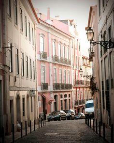 Cobbled Street Lisbon Portugal