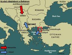 Az első világháború története | tortenelemcikkek.hu Ottoman Empire, Mediterranean Sea, Black Sea, Albania, Bulgaria, Hungary, Austria, Greece, Italy