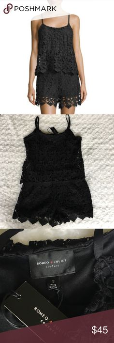 Romeo & Juliet Couture Black Lace Romper New with tags. Gorgeous chic lace detail romper with adjustable straps. From smoke free and pet free home. Romeo & Juliet Couture Dresses