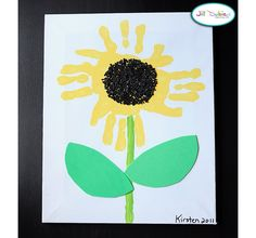 Kansas day handprint sunflower craft activity...would be cute for leaves to be feet!