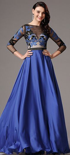 Illusion V Neck Long Sleeves Royal Blue Formal Dress