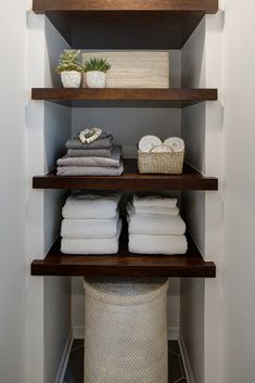 Crafting an Open + Airy Bathroom Retreat without Changing the Footprint is part of Rustic bathroom shelves This master bathroom got a fresh overhaul with floor to ceiling subway tile, modern sconces - Rustic Bathroom Shelves, Bathroom Storage Shelves, Bathroom Organization, Organization Ideas, Glass Shelves, Wall Shelves, Rustic Shelves, Decorating Bathroom Shelves, Dark Wood Shelves