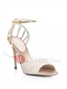 Great Sale White Leather Upper Stiletto Heels Women Sandals : Tidebuy.com