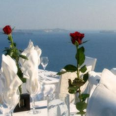 Ambrosia Restaurant, Santorini	:     Take in breathtaking views of an ancient volcanic caldera and the Aegean Sea from the terrace of Ambrosia Restaurant, one of the most sought-after eateries in Santorini, in the fabled Greek islands. Get a romantic table for two and feast on Mediterranean and modern Greek cuisine. Sample local Greek wines and enjoy a memory to last a lifetime.