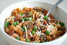 Pasta Marscapone with Ham Peas and Mushrooms