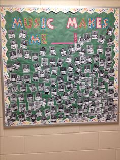 """Music in Our Schools Month. Students finish sentence """"Music makes me__________"""". Take their picture with their 'word' and wa-la! Great bulletin board that showcases your students's love for music!"""
