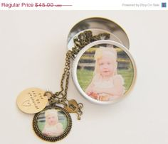 Grandma Gift.  Custom photo charm necklace with matching photo gift tin.
