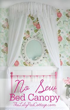 DIY Nursery Decor Ideas for Girls - No Sew Bed Canopy - Cute Pink Room Decorations for Baby Girl - Crib Bedding, Changing Table, Organization Idea, Furniture and Easy Wall Art Big Girl Bedrooms, Little Girl Rooms, Girls Bedroom, Little Girl Canopy Bed, Bedroom Ideas, Master Bedroom, Diy Canopy, Canopy Crib, Wooden Canopy