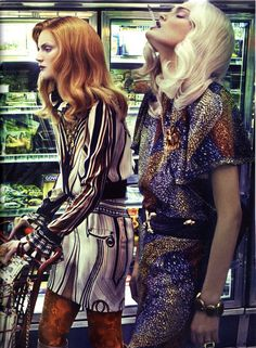 Lily Donaldson  & Guinevere van Seenus by Steven Klein