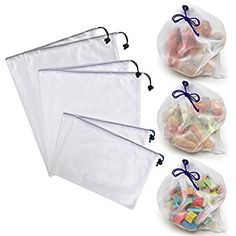 BTSKY Reusable Environmentally Friendly Washable Mesh Produce Storage Bags Drawstring Bags Shopping Bags, 2 Large*2 Medium*2 Small(Set of 6)