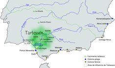Tartessos - Historia antigua de la península ibérica - Wikipedia Áreas tartésica y de influencia tartésica; y colonias fenicias y griegas.
