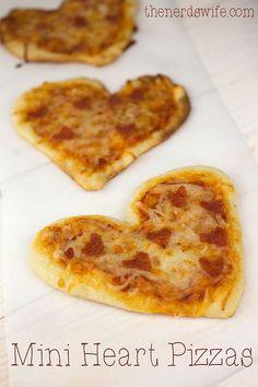 mini heart pizzas