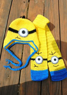 Free Crochet Pattern For Minion Scarf : Crochet minion hat and scarf set by NLovingHandZ on Etsy