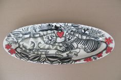 """""""Feline Love in Cape Town """" hand-painted platter . Tiffany Wallace Ceramics SA .2015"""