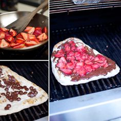 Sweet Grilled Pizza With Strawberries and Chocolate uhhhh amazing! Chocolate Chip Pizza, Chocolate Recipes, Gourmet Recipes, Sweet Recipes, Dessert Recipes, Camping Recipes, Grilled Desserts, Just Desserts, Grilled Fruit