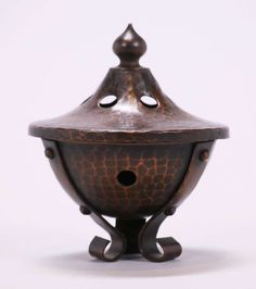 Roycroft hammered copper incense burner.  Signed on base and lid.  Excellent new patina.