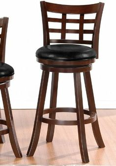 """Poundex F1458 Grid Back Swivel Barstool in 29"""" Seat Height by Poundex. $92.20. Save space with swivel bar stools with back. Forest footrest and aesthetic base. Bonded leather seat cushion. The ''Baum'' barstool collection features a selection of two contemporary styled chairs with round faux leather upholstered seat cushions framed in a dark brown wood finish with a square cut-out back support.. Save 45%!"""