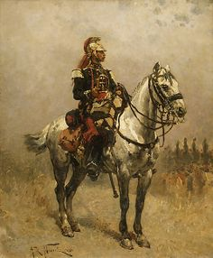 Alphonse-Marie-Adolphe de Neuville  (French, 1835–1885). A Cavalryman, 1884. The Metropolitan Museum of Art, New York. Bequest of Maria DeWitt Jesup, from the collection of her husband, Morris K. Jesup, 1914 (15.30.20) #horses