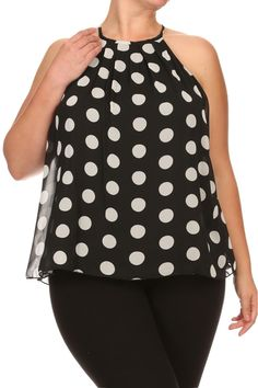 High collars like this are a no go. I like the polka dots, though. Plus Size Chic, Plus Size Women's Tops, Perfect Wardrobe, Flowy Tops, High Collar, Get The Look, Plus Size Fashion, Fall Outfits, Autumn Fashion