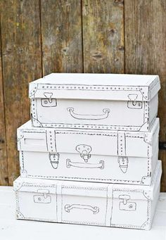 """Don't throw away your ugly old shoe boxes. It is so easy to transform them into some stylish retro storage that you will want on your shelves. I love vintage suitcases which gave me the idea for this shoe box update."""