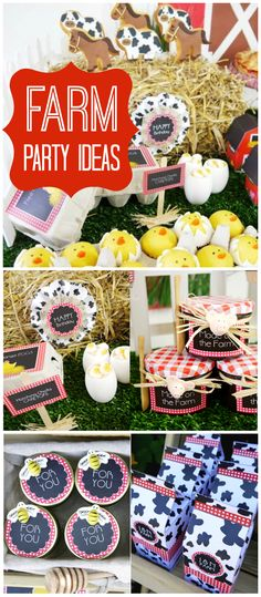 A barnyard farm boy and girl birthday party with animal cookies, cake pops and favors! See more party planning ideas at CatchMyParty.com!