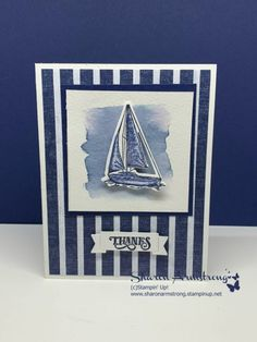 I'm back again today with a stunning watercolor card made in under 10 minutes! Follow this step-by-step video tutorial to make this easy masculine card! Learn more at www.txstampin.com #handmadecards #txstampin #sharonarmstrong #stampinup #cardmaking #masculinecards #diycards #greetingcards Masculine Birthday Cards, Birthday Cards For Men, Masculine Cards, Diy Birthday, Male Birthday, Sister Birthday, Nautical Cards, Nautical Theme, Beach Cards