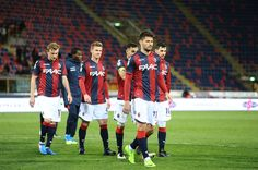 players of Bologna FC look dejected at the end of the Serie A match between Bologna FC and SS Lazio at Stadio Renato Dall'Ara on March 5, 2017 in Bologna, Italy.