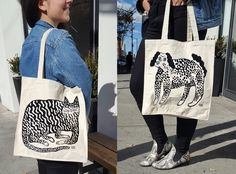 "Hand screen printed tote bags featuring your favorite pet. Dog or a cat, take your pick. Heavy Canvas with full side and bottom gusset 14""W x..."