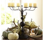 Pottery Barn.  Autumn decor doesn't always involve bright hues of red, orange. Here you see off white and subtle shades of green. Get a few good basic pieces like this candle holder or a clear vase - and change your colors to change the seasonal decor.  Use your imagination.  http://www.potterybarn.com/shop/holiday-decor/fall-guide/entertaining-centerpieces/?cm_src=autumnal_guide