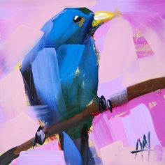 Indigo Bunting no. 12 original bird oil painting by Angela Moulton prattcreekart