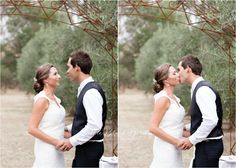 Bride and Groom, First Kiss, Wedding Photography Country, Vintage, 2014, Wedding Photography - Little Black Birdy Photography, Providence Gully Farm Castlemaine http://littleblackbirdy.com.au/