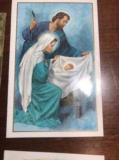 Lot Vintage Christmas Card Ephemera Paper Altered Art Baby Jesus Manger Mary  #5