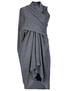 grey draped dress-elegent