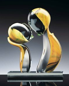 Formia Murano calcedonio and clear glass sculpture titled THE KISS
