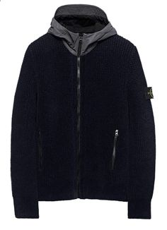 553BA REFLEX MAT Cardigan in double knitted cotton / wool chenille, chenille on the outside and wool on the inside. Zip-fastening pockets.  Hood with visor in Reflex Mat, reflective fabric with a matte coating made up of thousands of glass micro spheres on a polyester base, enriched with high saturation colour agents.