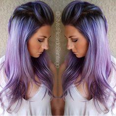 Com hairstyles purple hair, hair color purple e hair color. Curls Haircut, Haircut Long, Fall Hair Cuts, Hair Color Purple, Hair Colors, Pastel Purple, Fun Hair Color, Silver Purple Hair, Periwinkle Hair