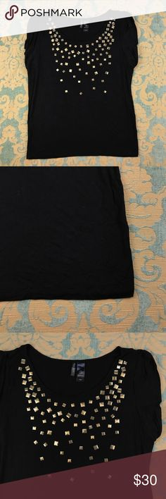 """NWOT Bisou Bisou Black Embellished Top 🌺 Bisou Bisou Black Embellished Top  Women's Size: XL  Rayon 95% 5% Spandex  Very good condition! No flaws.  Measurements lying flat: Shoulder to Shoulder 18"""", Armpit to Armpit 24"""", Sleeve's Length 3"""", Length 28"""".  Please, review pictures. You will get the item shown. Smoke & pet free home. Bisou Bisou Tops Blouses"""