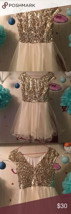 Homecoming dress, worn once! Gold/cream. Top is all sequin. Trixxi Brand. Size 3. My favorite dress out of all of them. Dresses Prom