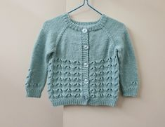 Feminine pale aqua lacy cardigan for baby girl to 9 months, hand knit girl's sweater, knitted wool blend cardigan, handmade infant knitwear Baby Girl Sweaters, Wool Cardigan, Hand Knitting, Wool Blend, Knitwear, Infant, Aqua, Feminine, How To Wear