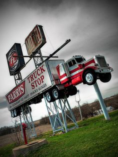 LIKE Progressive Truck Driving School: www.facebook.com/... #trucking #truck #driver  Vintage Truck Stop sign